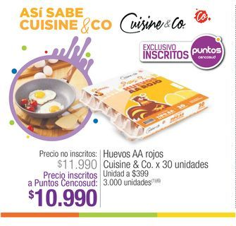 Oferta de Huevos AA rojos Cuisine & Co 30 unidades por $10990