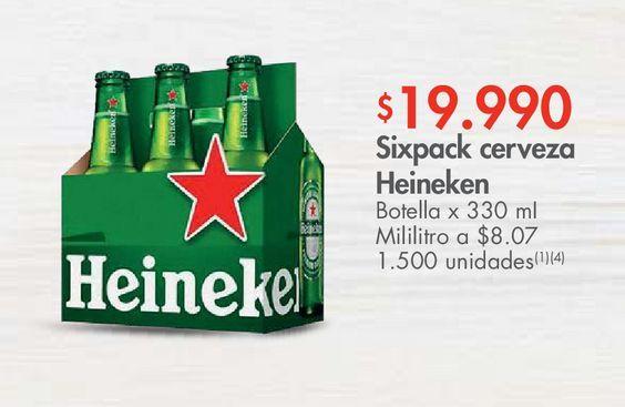 Oferta de Sixpack cerveza Heineken Botella x 330 mI por $19990