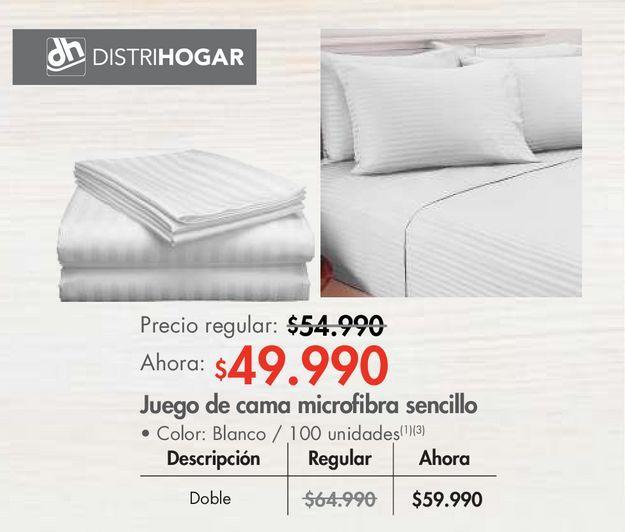 Oferta de Juego de cama microfibra sencillo por $49990