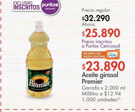 Oferta de Aceite girasol Premier Garrafa x 2.000 mI por $23890