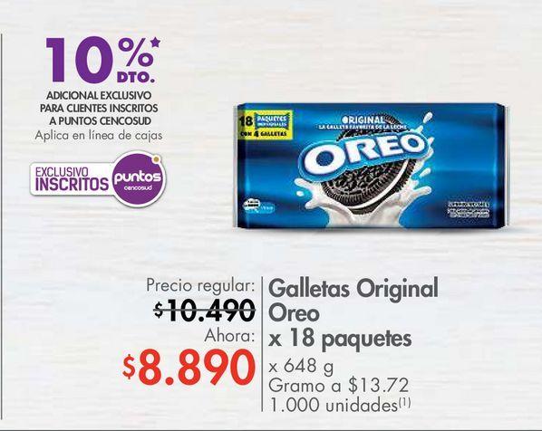 Oferta de Galletas Original Oreo x 18 paquetes  por $8890