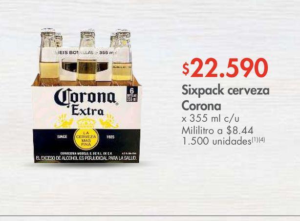 Oferta de Sixpack cerveza Corona x 355 mI c/u por $22590