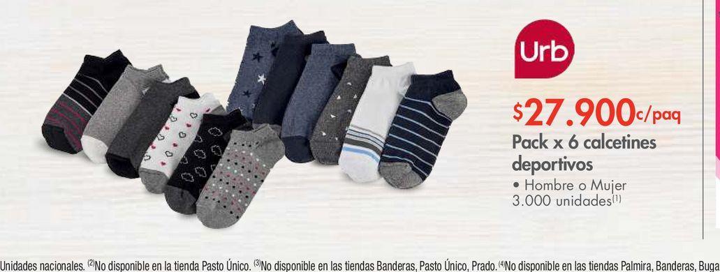 Oferta de Pack x 6 calcetines deportivos por $27900