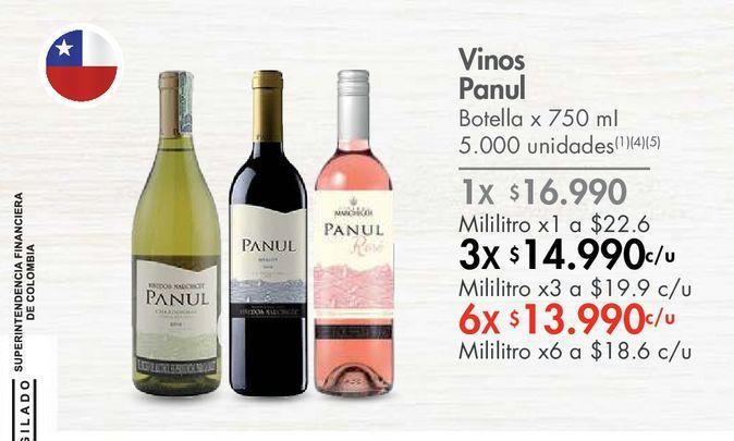 Oferta de Vinos Panul Botella x 750 mI por $16990