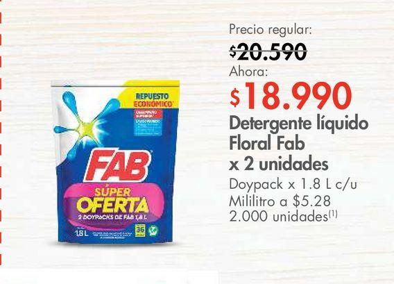 Oferta de Detergente líquido Floral Fab x 2 unidades por $18990