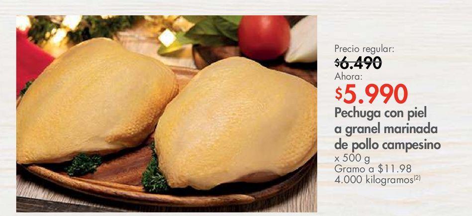 Oferta de Pechuga con piel a granel marinada de pollo campesino x 500 g  por $5990
