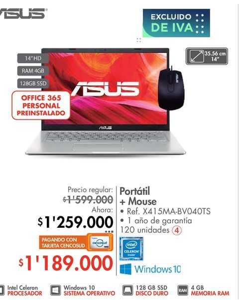 Oferta de Portátil + Mouse por $1259000