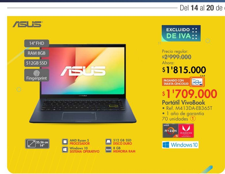 Oferta de Portátil VivoBook por $1815000