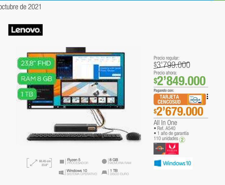 Oferta de Computador de mesa Lenovo por $2679000